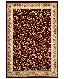 CLOSEOUT! KM Home Area Rug, Princeton Floral Red 4' x 5'3""