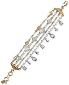 Two-Tone Stone Multi-Row Flex Bracelet
