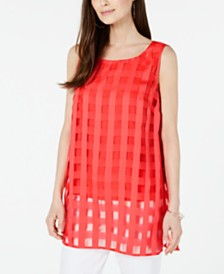Alfani Plaid Illusion Tunic, Created for Macy's