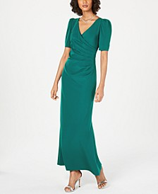 Petite Puff-Sleeve Ruched Gown