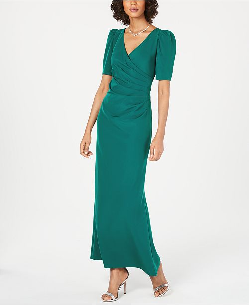 Adrianna Papell Petite Puff-Sleeve Ruched Gown