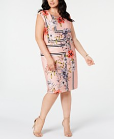 Vince Camuto Trendy Plus Size Printed Sheath Dress