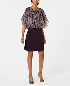 Connected Petite Printed Popover A-Line Dress