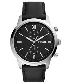 Fossil Men's Chronograph Townsman Black Leather Strap Watch 48mm