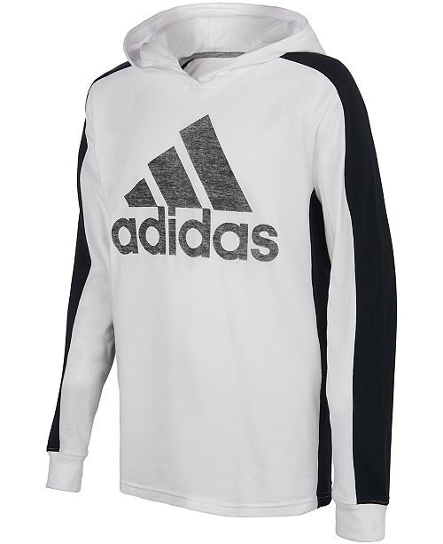 adidas Big Boys Logo-Print Long Sleeve Hooded T-shirt