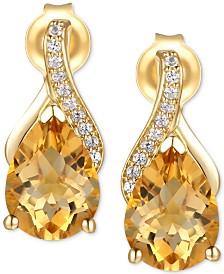 Citrine (2-1/10 ct. t.w.) & Diamond (1/20 ct. t.w.) Drop Earring in 14k Gold