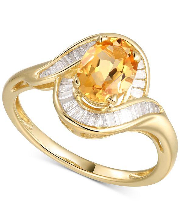 Macy's Citrine (1-1/8 ct. t.w.) & Diamond (1/4 ct. t.w.) Ring in 14k Gold