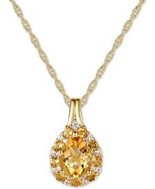 "Citrine (1-1/3 ct. t.w.) & Diamond (1/10 ct. t.w.) 18"" Pendant Necklace in 14k Gold"