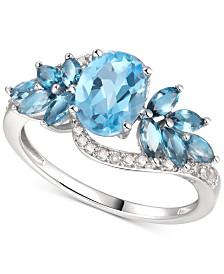 Blue Topaz (2-1/4 ct. t.w.) & Diamond (1/6 ct. t.w.) in 14k White Gold