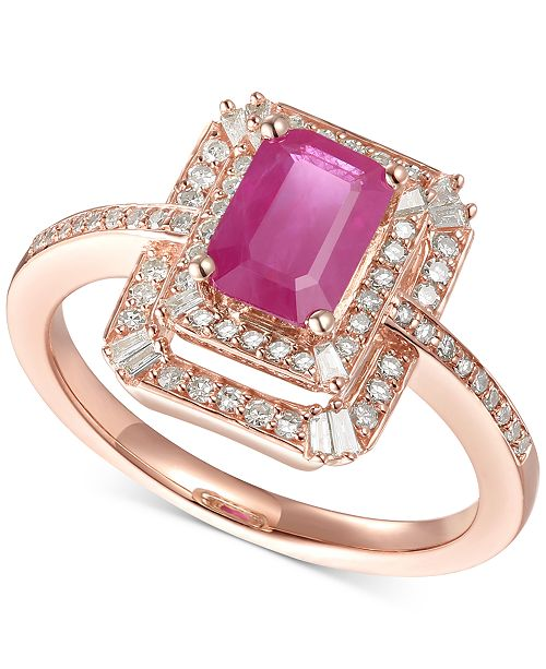 Macy's Certified Ruby (1 ct .t.w.) & Diamond (1/3 ct. t.w.) Statement Ring in 14k Rose Gold
