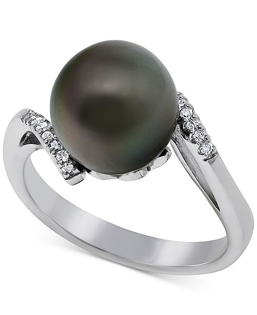 Macy's Cultured Tahitian Pearl (10mm) & Diamond Accent Ring in Sterling Silver