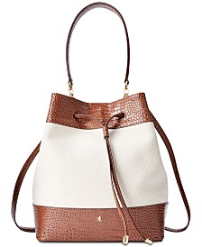 Lauren Ralph Lauren Debby Croc-Embossed Bucket Bag