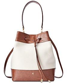 Lauren Ralph Lauren Debby Croc-Embossed Bucket Bag