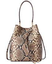 49c5f866c50 Lauren Ralph Lauren Dryden Debby Snake-Embossed Leather Bucket Bag