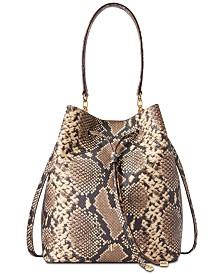 Lauren Ralph Lauren Dryden Debby Snake-Embossed Leather Bucket Bag