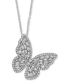 "EFFY® Diamond Butterfly 18"" Pendant Necklace (1-3/8 ct. t.w.) in 14k White Gold"