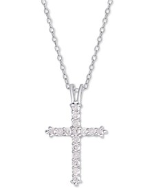 "Diamond Cross Pendant Necklace (1/2 ct. t.w.) in Sterling Silver or 14k Gold-Plate Over Sterling Silver, 16"" + 2"" Extender"