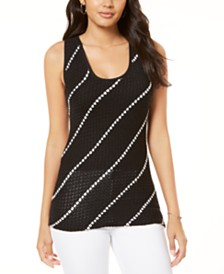 I.N.C. Diagonal-Stripe Sweater Tank Top, Created for Macy's