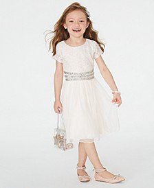 Little Girls Embellished Glitter-Lace Dress