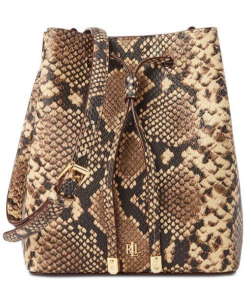 Lauren Ralph Lauren Mini Debby Croc-Embossed Leather Bucket Bag