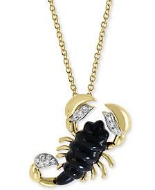 "EFFY® Onyx (16 x 6mm) & Diamond Accent Scorpion 18"" Pendant Necklace in 14k Gold"