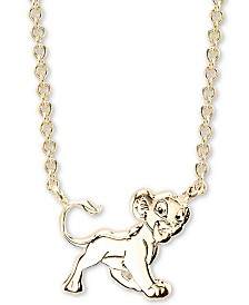 "Disney's ""The Lion King"" Simba Necklace in Gold-Tone Sterling Silver for Unwritten, 16"" + 2"" extender"