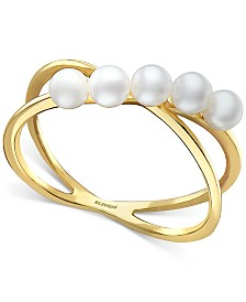 EFFY® Cultured Freshwater Pearl (3mm) Crisscross Ring in 14k Gold