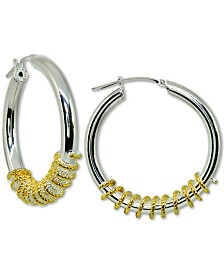 Giani Bernini Two-Tone Wrapped Hoop Earrings in Sterling Silver, Created for Macy's