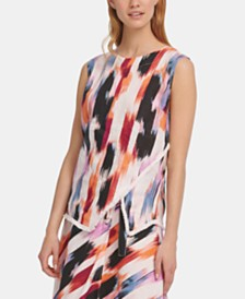 DKNY Printed Asymmetrical Top