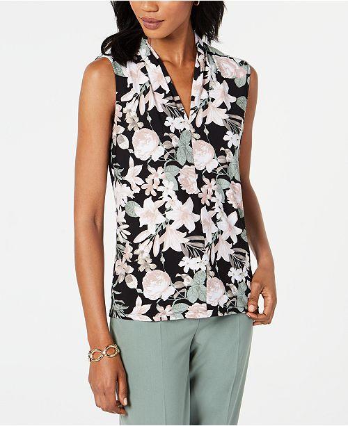 Nine West Floral-Print Tie-Neck Top