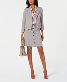 Nine West Mini Houndstooth Jacket, Skirt & Charmeuse Blouse