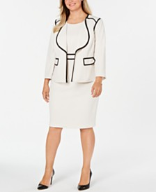 Kasper Plus Size Piped Crepe Jacket & Sheath Dress