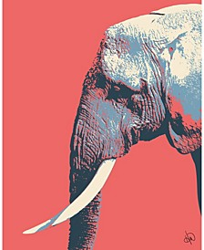 Graphic Elephant to The Right on Light Red Portrait Metal Wall Art Print