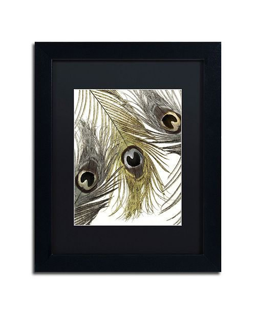 "Trademark Global Color Bakery 'Feather Fashion I' Matted Framed Art - 11"" x 14"""