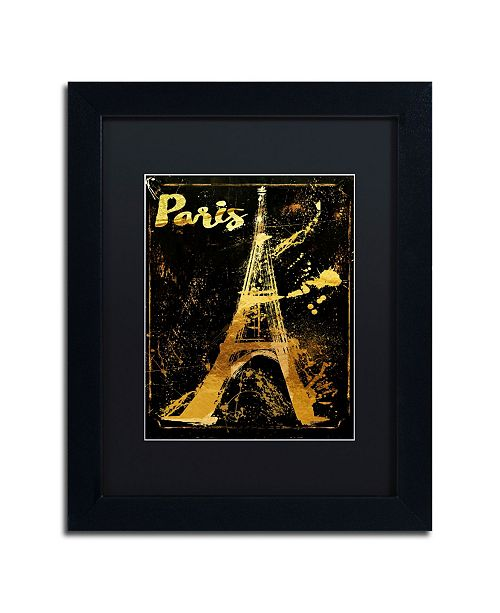 "Trademark Global Color Bakery 'Gold Eiffel' Matted Framed Art - 11"" x 14"""