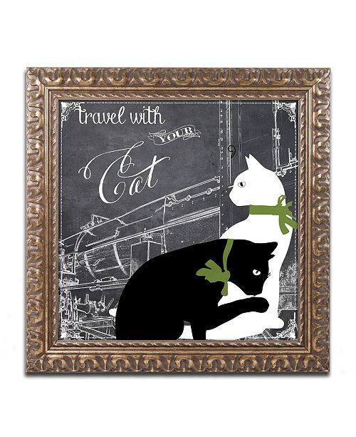 "Trademark Global Color Bakery 'Travel With Your Cat' Ornate Framed Art - 11"" x 11"""
