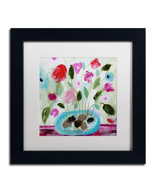 """Trademark Global Carrie Schmitt 'Winter Blooms II' Matted Framed Art - 11"""" x 11"""""""