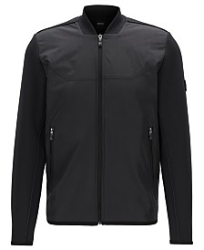 BOSS Men's Samoo Hybrid Perforated Bomber Jacket