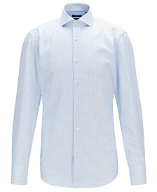 BOSS Men's Jason Vichy-Check Cotton Twill Slim-Fit Shirt
