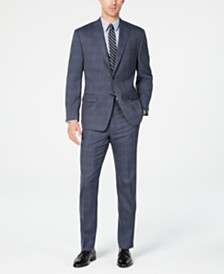 Michael Kors Men's Classic-Fit Airsoft Stretch Navy Blue Plaid Suit Separates