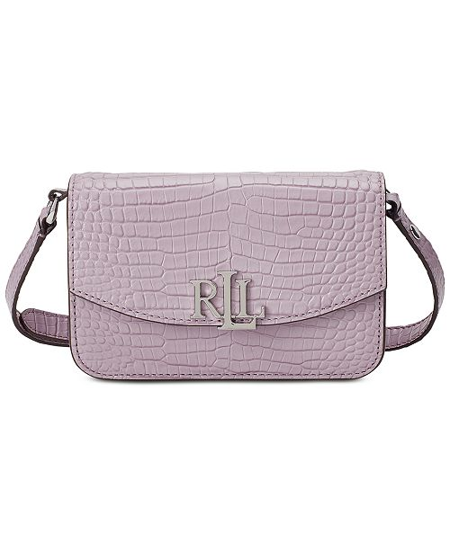Lauren Ralph Lauren Madison Croc-Embossed Convertible Leather Belt Bag