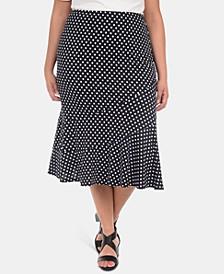 Plus Size Seamed Midi Skirt