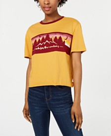 Rebellious One Juniors' Cotton Mountain Graphic T-Shirt
