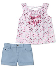 Little Girls 2-Pc. Dot-Print Top & Shorts Set