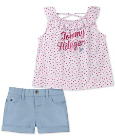 Tommy Hilfiger Little Girls 2-Pc. Dot-Print Top & Shorts Set