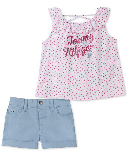 Tommy Hilfiger Little Girls 2-Pc. Dot-Print Top & Shorts Set