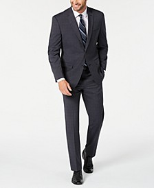 by Andrew Marc Men's Modern-Fit Stretch Charcoal Plaid Suit