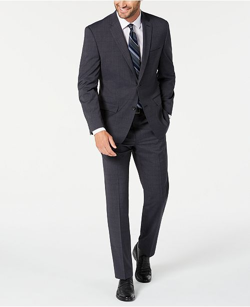 Marc New York by Andrew Marc Men's Modern-Fit Stretch Charcoal Plaid Suit