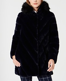 Calvin Klein Hooded Faux-Fur Coat