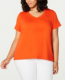 Plus Size Cotton V-Neck T-Shirt, Created for Macy's